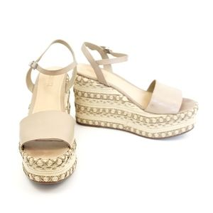 Schutz beige and tan leather espadrille wedges